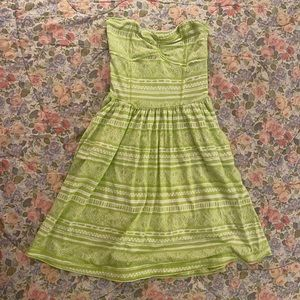 Green strapless sundress with pockets